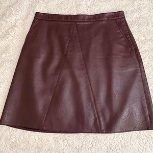 Zara burgundy faux leather mini skirt